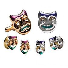 New Men's Comedy Tragedy Mask CuffLinks Studs Set Mardi Gras Purple Green Gold