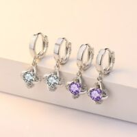 *NEW*UK SELLER*Gorgeous Amethyst Zircon Flower Drop 925 Sterling Silver Earrings