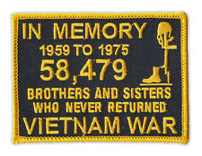 Motorcycle Jacket Embroidered Patch - Vietnam Memorial Patch (Black, Yellow)
