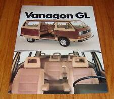 Original 1982 Volkswagen VW Vanagon GL Sales Brochure Sheet