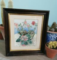 Original Signed Watercolour Painting. Plant Pot Flowers. Chunky Wood. Picture