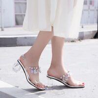 Womens Open Toe Clear Transparent Shoes High Heels Ankle Strap Sandals Stilettos
