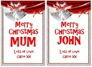Silver Personalised Christmas Bottle Labels Vodka Whiskey Rum Gin Gift Bag Etc
