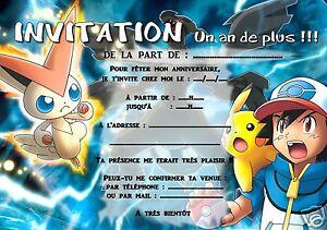 5 ou 12 cartes invitation anniversaire POKEMON ref 292