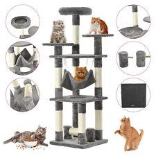 "New listing 52"" Cat Tree Condo Play House Kitty Scratching Climbing Tower w/ Hammock Gray"