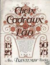 """CATALOGUE """" AU PRINTEMPS """" CHOIX DE CADEAUX JOUR DE L'A"""