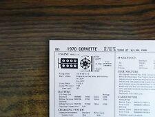 1970 Chevrolet Corvette Models 460 HP 454 CI V8 SUN Tune Up Chart Great Shape