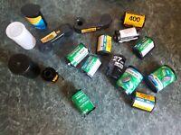 Used Lot Assorted 35mm 24mm 200  film cans cassettes cartridges Kodak Fuji 1 new