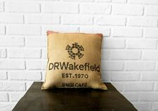 Vintage burlap cushions with pad for coffee lovers gift. Zero waste pillow