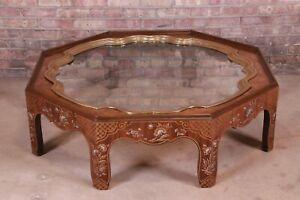 Baker Furniture Hollywood Regency Chinoiserie Walnut and Brass Octagonal Table