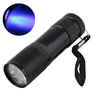 9 LED UV Flash Light Lamp waterproof functional Aluminum Black Hot Sale D14