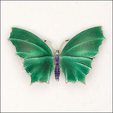 Art Deco Sterling Silver Enamel Butterfly Brooch