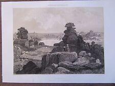 BELLE GRAVURE 1867 BRETAGNE COTES D'ARMOR PLOUMANACH PRES PERROS GUIRREC