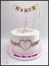 3piece cake decoration set, personalised Name bunting, Ballerina & ballet shoes