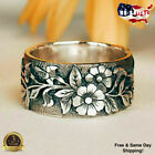 Pretty Flower 925 Silver Rings For Women Jewelry Party Rings Size 5-10
