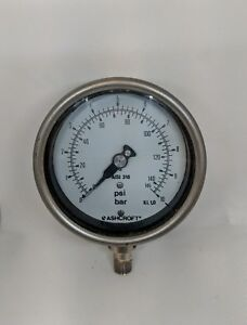 Pressure Gauge 100mm Dial Bott0m Connection 0-10 Bar 145 PSI stainless steel S/H