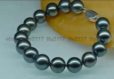 Tahitian black green pearl bracelet 7.5inch Hot sell !100% Genuine natural 12mm