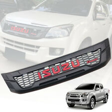 FRONT GRILLE GRILL MATTE BLACK WITH WHITE 4 LED FIT ISUZU D-MAX DMAX 2012 13 14