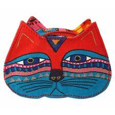 # New LAUREL BURCH Coin Bag CAT KITTEN FACE HEAD ART Case Purse Pouch RED GREEN