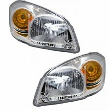 Headlights Headlamps w/ Chrome Bezel LH & RH Pair Set for 05-10 Chevy Cobalt