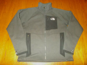 THE NORTH FACE FULL ZIP GRAY WAFFLE KNIT FLEECE LINED JACKET MENS MEDIUM EXCELL