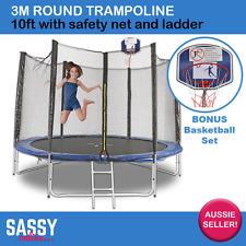 Round Trampoline 3m 10ft W/Safety Net Ladder Pad Springs BONUS Basketball Hoop
