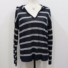 Ann Taylor LOFT Women Blue and White Striped Lightweight Hoodie Sweater Size S