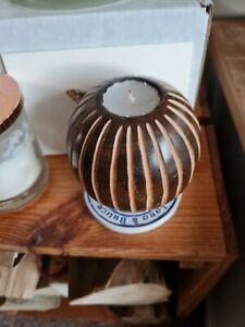 Round Wooden Tea-light Candle Holder ball design striped Gift idea 🙂