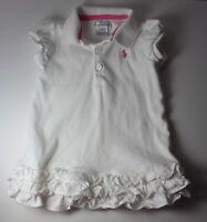 Ralph Lauren Girls Baby 12 Month 12M White Pink Polo Dress w Pony + Ruffles