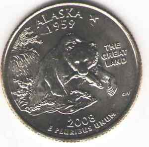 US. 2008-D. AK. Alaska Statehood (1959) Quarter. Uncirculated.