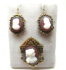 14k Gold Victorian Genuine Hard Stone Cameo Pin & Earrings 3pc Set #J3775