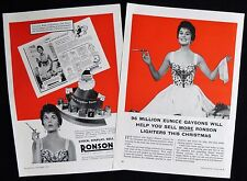 RONSON CIGARETTE LIGHTER EUNICE GAYSON FILM ACTRESS 2 x MAGAZINE ADVERTS 1955