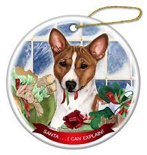 Basenji Red and White Dog Porcelain Hanging Ornament Pet Gift