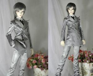 1/4 1/3 Uncle ID BJD Clothes Silver Gray Formal Suit Blazer+Shirt+Pants+Tie #F