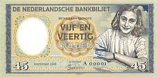 Netherlands, 45 Gulden, 1945, Anne Frank, Specimen, Private, Gabris, Note,