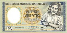 Netherlands 45 Gulden 1945 Unc Anne Frank Prefix A - Gabris Note