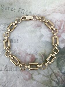 "9ct Yellow Gold Rectangular Fancy Open Link Bracelet 8"""
