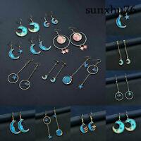 Fashion Asymmetric Star Dangle Drop Pendant Moon Earrings Hook Women Jewelry