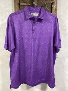Men's Donald Ross Golf Shirt Sz Medium ~ Purple w/ Orange Dots ~ Great Condition