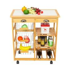 Durable Rolling Wood Kitchen Island Trolley Cart Dining Storage Drawers Stand