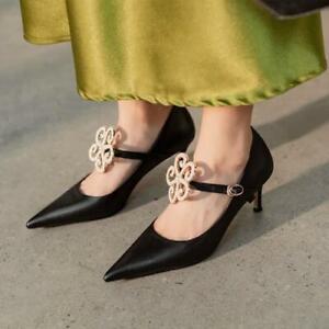 Fashion Women's Pointy Toe Stilettos High Heels Pumps Floral OL Lady Shoes