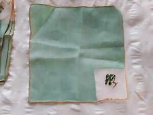 Vintage linen tea napkins - 6 -  with embroidery - preowned