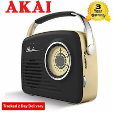 Akai A60014 AM/FM Vintage Retro Design Radio with SD/USB Input Black
