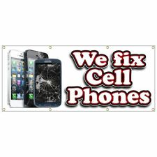 CELL PHONE REPAIR BANNER we fix cell phones tablet computer red white 24x60
