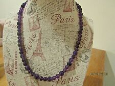 Amethyst stone necklace vintage costume  necklace fashion jewelry