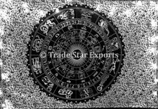 Hippie Zodiac Tapestry Indian Black and White Wall Hanging Gypsy Cotton Throw