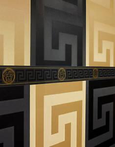 Black Genuine Versace Wallpaper Greek Key Satin Designer 935234 Modern 70cm