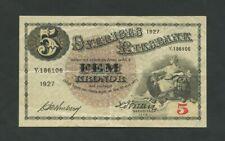 More details for sweden  5 kronor  1927  p33j  vf  banknotes