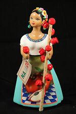 Lupita Najaco Ceramic Doll Mexican Folk Art Figurine Candy Apple Seller Turq.