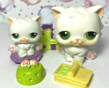 Authentic Littlest Pet Shop #15 White Persian Cat Green Eyes Topper Lot Accs Lps